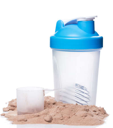Shaker and protein powder on white background 版權商用圖片