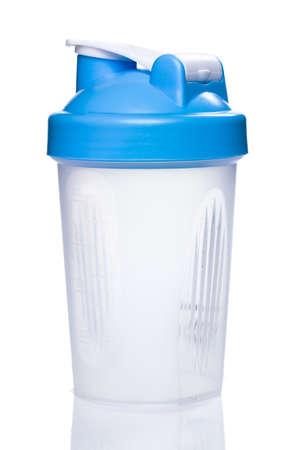 Empty protein shaker on white background photo