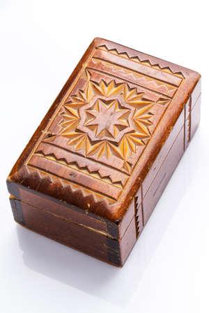 Close up of vintage wooden casket photo