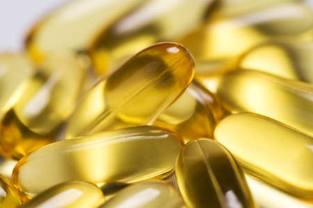 Close up of fish oil capsules Stock Photo