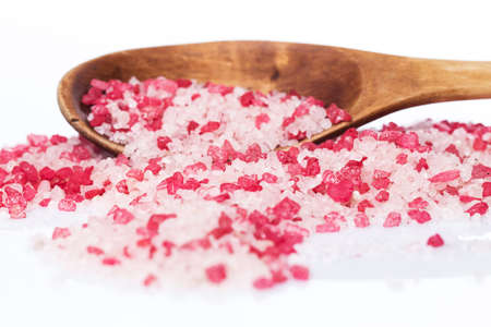 Wooden scoop with red sea salt for spa photo