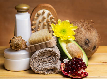 Set for massage or body care procedures with different ingredients