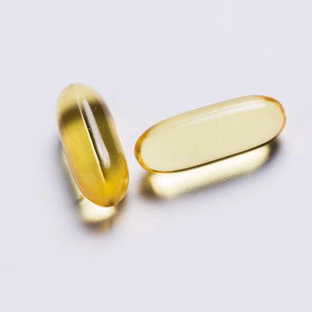 Close up of fish oil capsules photo