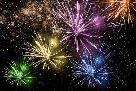 Colorful fireworks on dark background