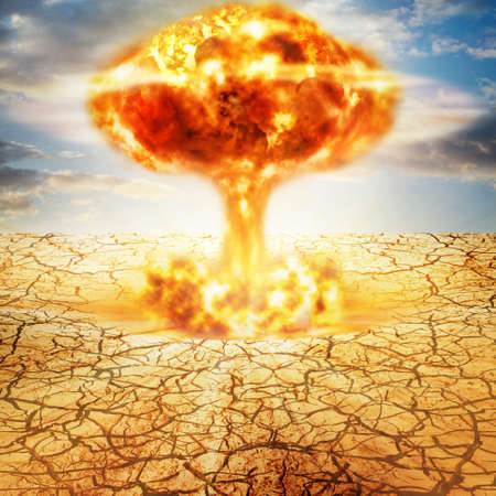 fallout: Huge nuclear explosion  Stock Photo