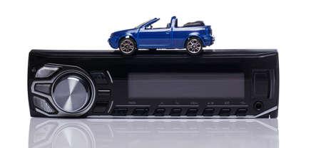 car audio: Car audio over white background