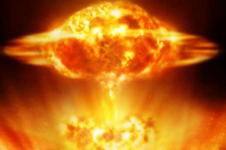 Nuclear explosion over black background photo