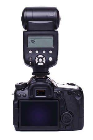 Modern DSLR camera with flash photo