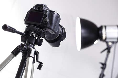 DSLR camera on tripod in the studio