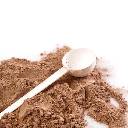 casein: Close up de polvo de prote�na y cuchara