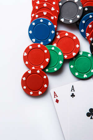 Close up of poker cards and chips photo