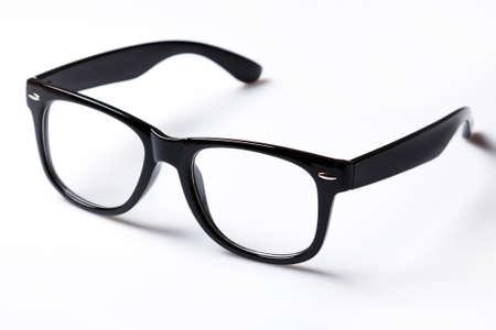 Eyeglasses with black rim over white background