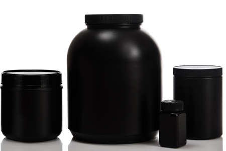 albumin: Jars with different food supplements