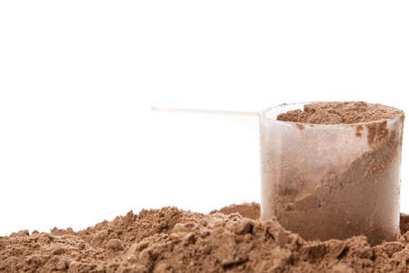 albumin: Close up of protein powder and scoop Stock Photo