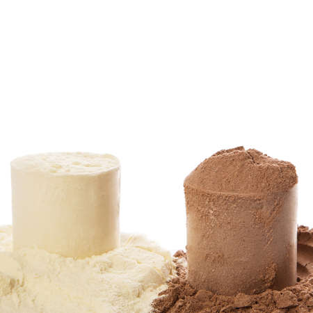 whey: Close up of protein powder and scoops Stock Photo
