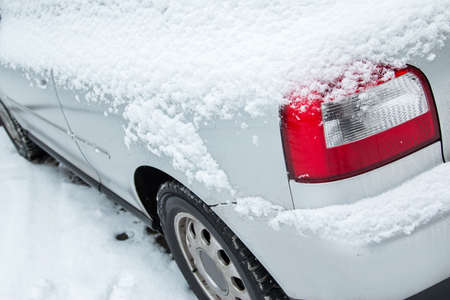 Close up of car covered with snow