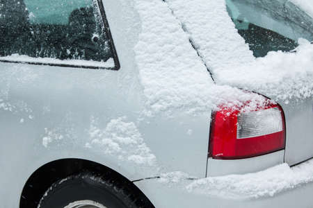 deep freeze: Close up of car covered with snow