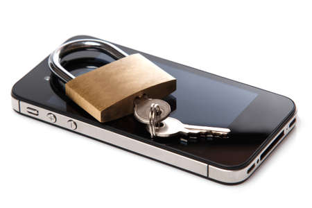 intrusion: Smartphone and padlock on white background