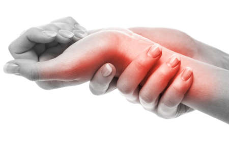 Woman has pain in wrist photo