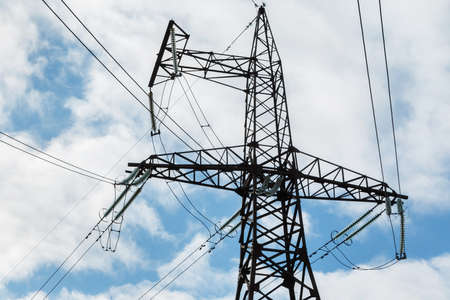 High voltage tower and sky Stock Photo