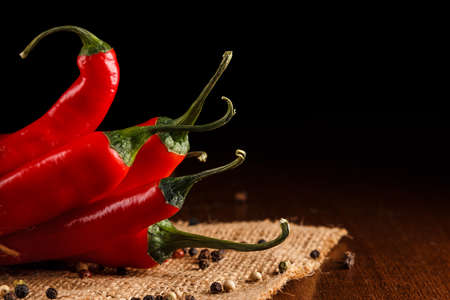 red chilli pepper plant: Red chili pepper on a sackcloth