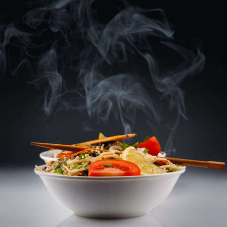 Hot noodles with seafood