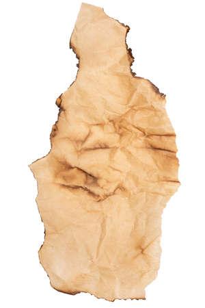 burnt paper: Old burnt paper over white background