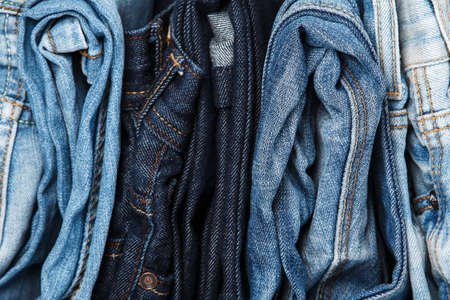 cotton  jeans: Stack of different blue jeans