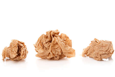 rumple: Crumpled paper on white background Stock Photo