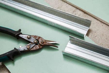 crimper: Close up of scissors for metal