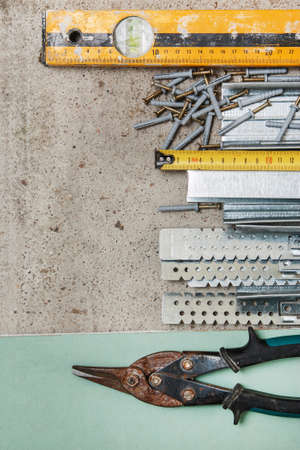plasterboard: Different instruments and materials for build a plasterboard walls
