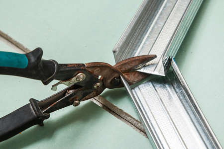 Close up of scissors for metal