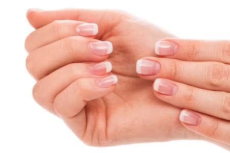 manicura: Hermosas manos con manicure franc�s en fondo blanco