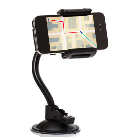 Car holder for mobile device on white background Foto de archivo