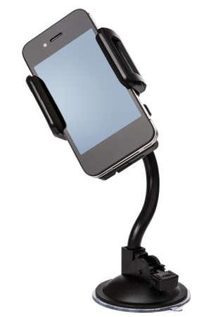 Car holder for mobile device on white background Imagens
