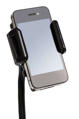 personal digital assistant: Car holder for mobile device on white background Stock Photo
