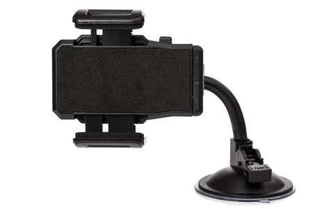 Plastic car holder for mobile device on white background Imagens