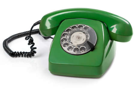 Green retro telephone on white background Archivio Fotografico