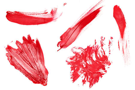 pomatum: Collection of different lipstick traces on white background
