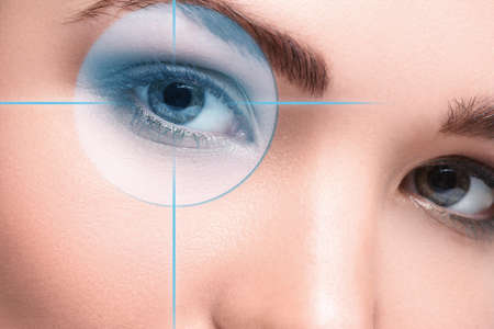 doctor of optometry: Close up of female eyes. Eyesight concept