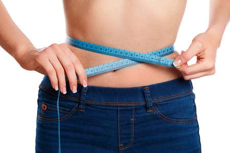 waistline: Waistline and measure tape on white background Stock Photo