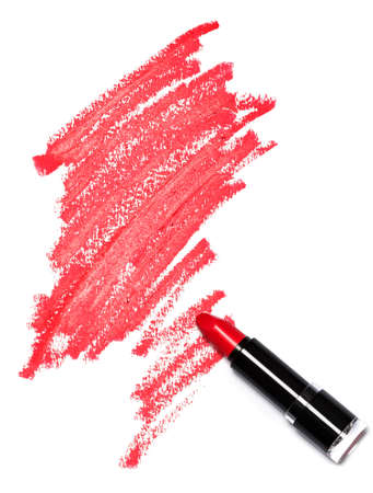 Red lipstick with trace on white background Banco de Imagens