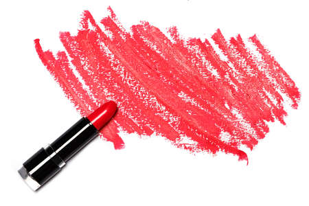 Red lipstick with trace on white background 스톡 콘텐츠