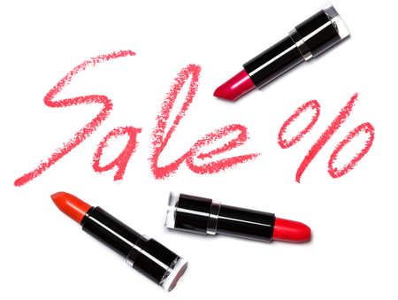 pomade: Red lipstick with lettering SALE on white background