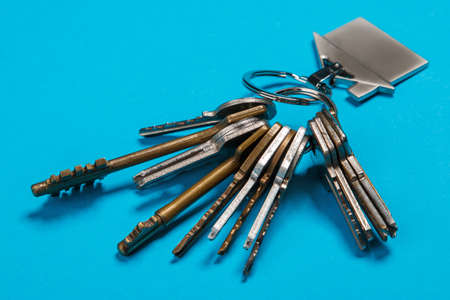 locksmith: Bunch of different keys on blue background