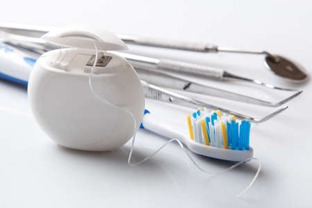 Set of different tools for dental care