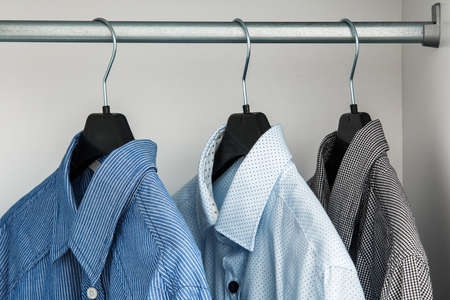 hangers: Different shirt in the closet on hangers