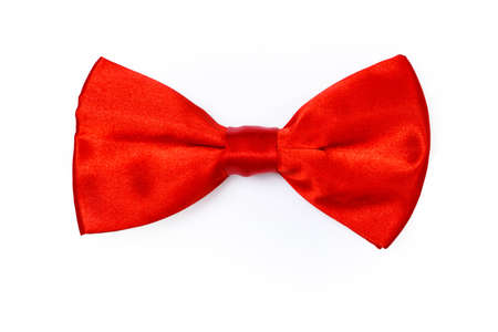 Red bow tie on white background