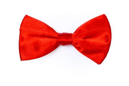silk tie: Red bow tie on white background