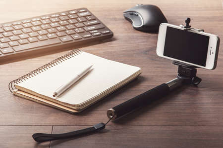 Different objects for blogging on a workplace Archivio Fotografico